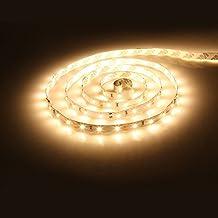 Tira de Luz LED, Lumin Tekco 300 Leds 3528 SMD Tira LED Luces 12v 5m DC 12V Blanco cálido, no impermeable y No Contiene la Fuente de Alimentación para Gabinete de Cocina, Iluminación de la TV.