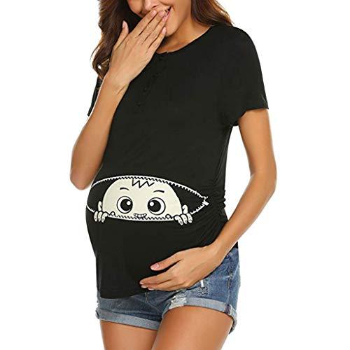 Schwangere Kostüm Der Schwangerschaft - Schwangere Frauen T-Shirt Kostüm Sommer Lustige Baumwolle Weste Tops Damen Baby in der Tasche Top Oberteil Für Schwangere T-Shirts Cute Mutterschaft Kleidung Lustige Wickeln-Schicht