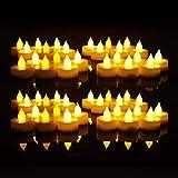 Everbrite 48 Stück LED Kerzen mit beweglicher Flamme, Romantische Echt Flammen Effekt LED Echtwachskerzen für Party und Haushalt