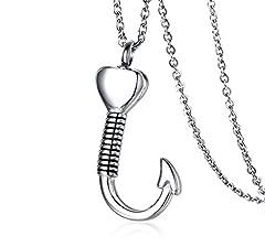 Idea Regalo - Vnox Acciaio inossidabile Cuore Fishhook Crema Urna Cenere Collana Memoriale Memoriale per Uomini Donne Donne