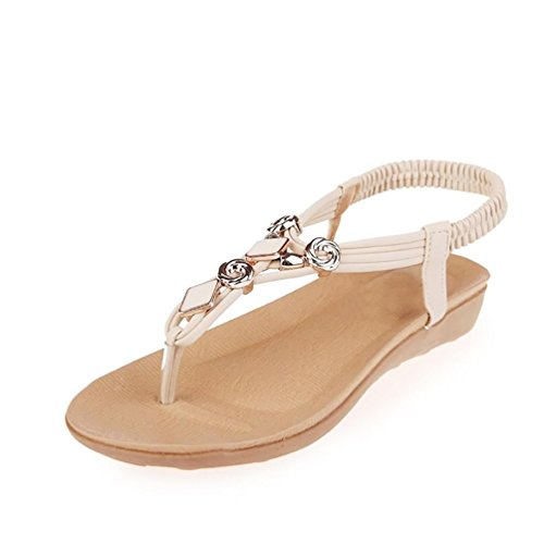 Women Sandals,Women Flat Shoes Beaded Bohemia Leisure Sandals Peep-Toe Flip Flops Shoes...