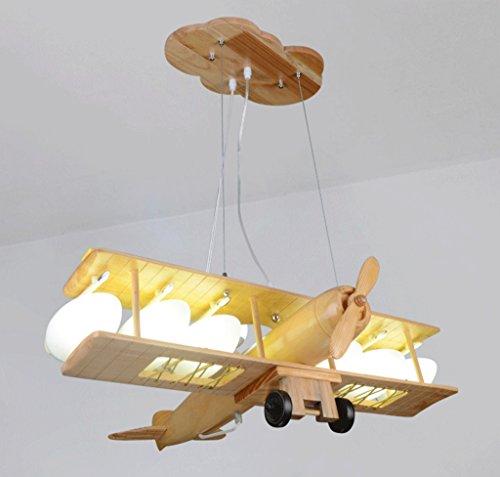 MILUCE Massivholz Fernbedienung Flugzeug Kronleuchter Kreative Kinderzimmer Persönlichkeit Junge Schlafzimmer Nordic Cartoon Licht E27 Lichtquelle - Antiquitäten, Kristall-kronleuchter