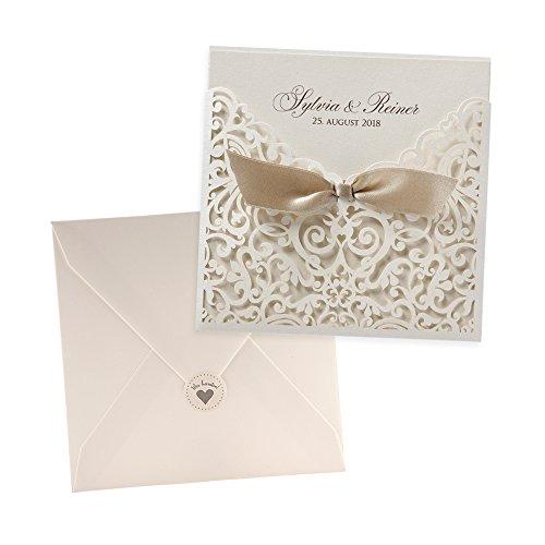Einladungskarten Kate zur Hochzeit, Creme, Lasercut-Spitze , 3 Stück Blanko Hochzeitseinladungskarten mit Umschlag und weddix Siegeletikett