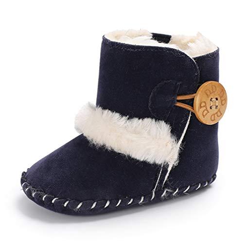 Baby SchöNen Taste Herbst Winter Warme Weiche Sohle Schneeschuhe Weiche Non-Slip Krippe Schuhkleinkind Stiefel (0-6 Monate, Marine) -