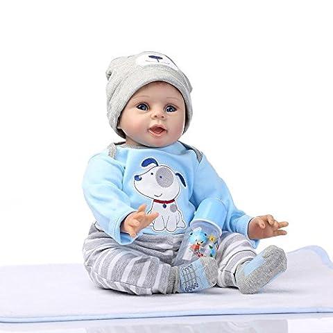 NPKDOLL Réincarné Bébé Poupée Vinyle Silicone Souple 22 Pouces 55Cm Bouche Magnétique Lifelike Garçon Jouet Fille Bleu Chien Reborn Baby Doll A1FR