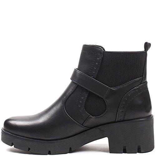 Ideal Shoes–Scarponcini stile Chelsea con cinturone Julienne Nero
