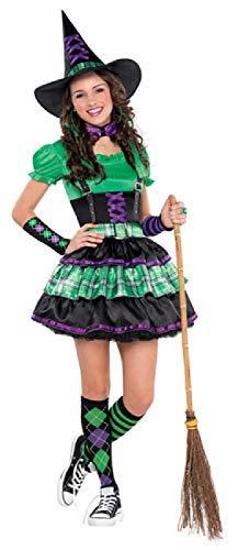 en Cool Hexe Lila Grün Schwarz 5 Stück Halloween Kostüm Kleid Outfit 10-16 Jahre - 12-14 Years ()