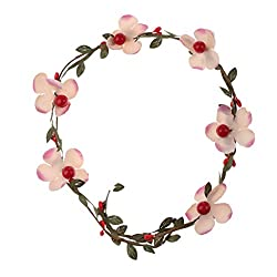 Phenovo Fashion Flower Hair Wreath Headband Garland Woman Bridal Crown Hair Hoop