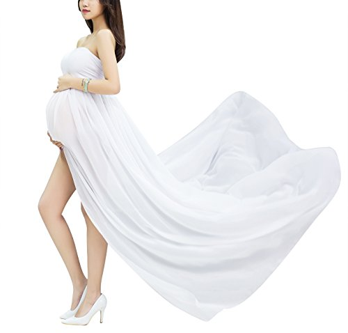 Happy Cherry Schwangerschafts Fotografie Requisiten Sexy Mutterschaft Fotoshooting Kleidung Lang Kleid Maxirock Schwanger Eingewickelt Brust Röcke, Weiß