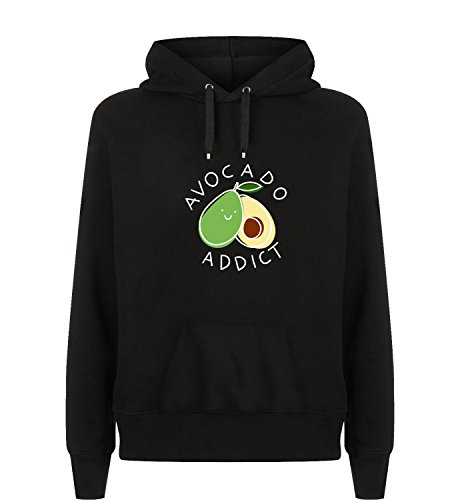 Avocado Addict Sports Gym Yoga Vegan Kapuzen Hoodie Kapuzenpullover Unisex Pullover Für Herren und Damen Exklusive Qualität Christmas Birthday Gift Geschenk LG Black Hoodie (Addict Hoodie)