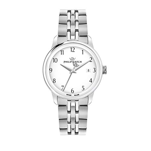 Philip Watch R8253150006 Montre à Quartz pour Homme avec Affichage de l'heure et de la Date en Acier Inoxydable