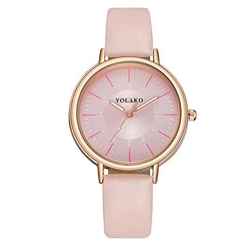 Lazzgirl YOLAKO Damen Casual Quarz Lederband New Strap Watch Analoge Armbanduhr(Hot Pink, Blau, Kaffee, Rot, Schwarz, Pink, Weiß,One Size)