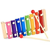 liketo Holz Glockenspiel Xylophon 8Noten Colorful Percussion Hand Knock Piano mit zwei Mallets Kinder Piano Musik Tastatur Instrument Educational Spielzeug für Kinder
