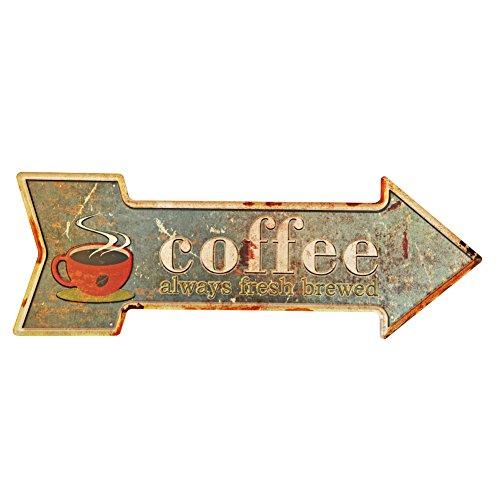 Coffee Metal Cartel de chapa metálica con letreros decorativos de flecha retro rústica para Cafe Pub 16.9x 6 pulgadas