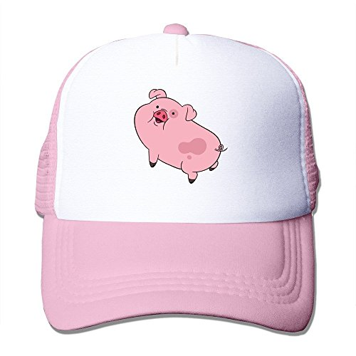 Feruch New Arrival Adult Unisex Gravity Falls Waddles 100% Nylon Mesh Caps One Size Fits Most Adjustable Sun Hat Pink Cap Fall