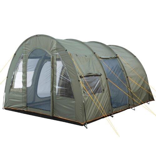 CampFeuer Campingzelt für 4 Personen | Großes Familienzelt mit 3 Eingängen und 5.000 mm Wassersäule | Tunnelzelt | olivgrün | Gruppenzelt | So macht Camping Spaß! - 3