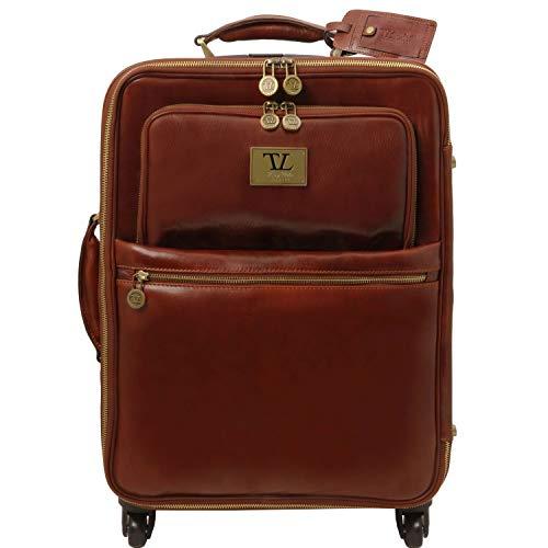 Tuscany Leather TL Voyager Valise Verticale en Cuir avec 4 roulettes Marron