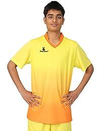 Triumph Men's Polyester Football Yellow V Neck Uniform (XXXL)