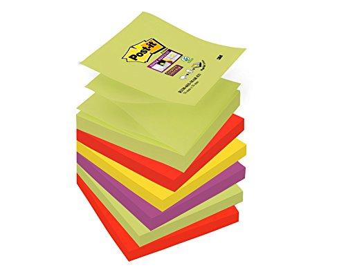 Post-it 32607 Blocchetti di Foglietti Super Sticky Z-Notes, Collezione Colore Marrakesh, 6 Blocchetti, 76 mm x 76 mm