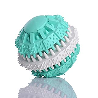 Aoxsen Pet Dog Puppy Toys Food Ball Smarter Interactive IQ Treat Ball Massaging Dispensing Chew Molars Toy Eco-friendly Non-Toxic Soft Rubber Dental Teeth Training Tooth Cleaning