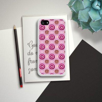 Apple iPhone 4 Housse Étui Silicone Coque Protection Donut party Rose vif Marron Housse en silicone blanc