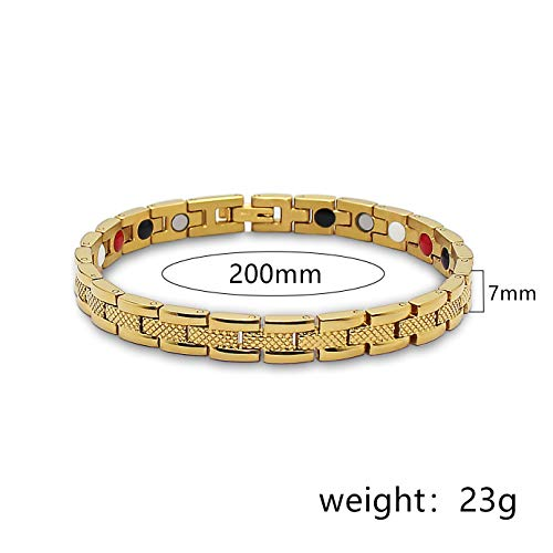 YZWD Magnetarmband Magnet Armband Armreif Gesundheit Magnettherapie Armband Arthritis Schmerzlinderung Health Magnet Gold Lady Armband 20 Jahre cm -