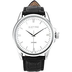 Wrist Watch Dictac Men's Analog White Dial Black Leather Watchband Business Watch