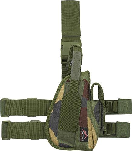 Pistolenbeinholster mit Bein und Gürtelbefestigung für Rechtshänder Farbe Woodland (Pistolenbeinholster Mit Gürtel)