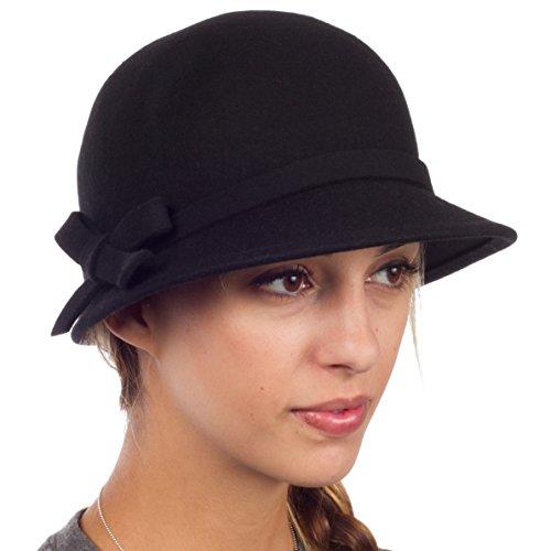 Sakkas EH0621LC - Frauen Jahrgang Stil Wolle Topfhut Bucket Winter Hut with Ribbon Bogen Akzent ( 4 Farben ) - Schwarz/eine (Cloche Hut 1920)