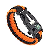 uhoMEy 5 In 1 Survival Bracelet Multifunctional Outdoor Paracord Survival Gear Parachute Cord Flint Fire Starter Scraper Compass Whistle