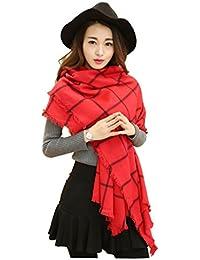 UUstar® Damen Maedchen Herbst Winter Beidseitig tragbar klassische Kariert Schal elegante Stola Halstuch Scarf, Rot, L