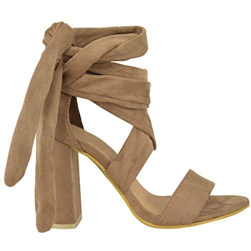 Damen Frauen Schnürer Blockabsatz Klobig Peep Toe Sandalen Party Schuhe Größe Mokkabraun Kunstwildleder