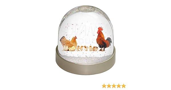Multi-Colour Chicks and Cockerel Snow Dome Globe Waterball Gift 9.2 x 9.2 x 8 cm Advanta Group Hen