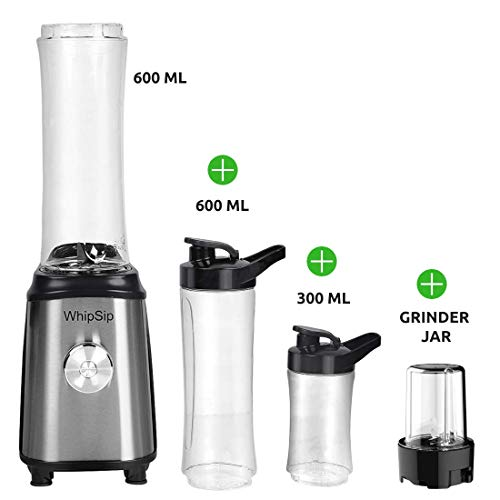 Whipsip Personal Blender for Smoothie, Protein Milk Shake with 3 Portable Sports Jars(Metallic)