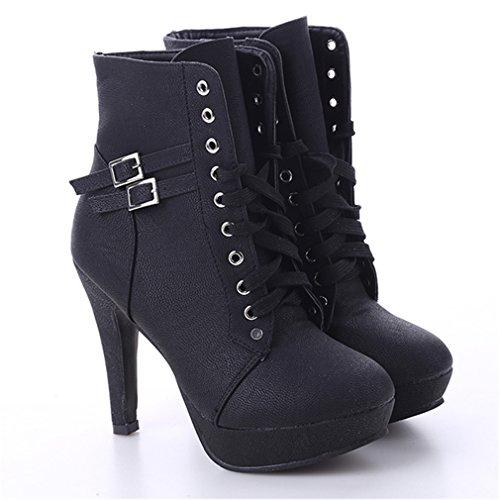 Schuh-rohr (LnLyin Damen Martin Stiefel Runder Kopf High Heel Röhre Wasserdichte Plattform Stiefel Schwarz 40)