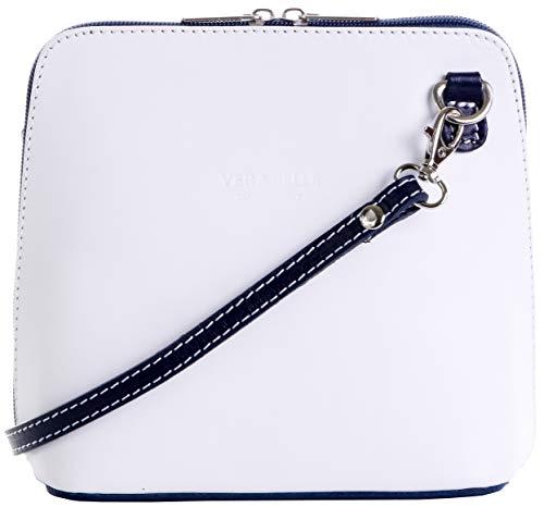 Primo Sacchi Italienisches Leder handgefertigt weißen und Marine blau klein/Micro Umhängetasche oder Schultertasche Handtasche.Beinhaltet eine schützenden Aufbewahrungstasche gebrandmarkt. (Marine-blau-handtasche)