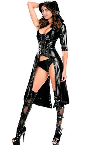 et Look Gothic Punk Mantel mit Kapuze Gewand Kleid Club Wear Kostüm Größe UK M 10–12EU 38–40 (Damen Cat Kostüm Uk)