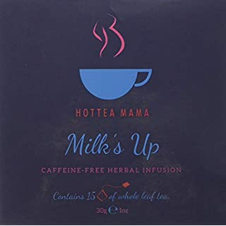 HotTea Mama Milk's Up breastfeeding tea, nursing tea, lactation herbal tea. 15 whole leaf, biodegradable tea bags per box, and it tastes delicious.