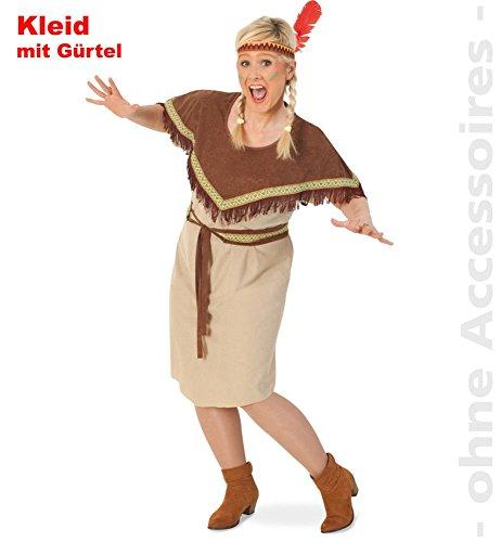 """Damen-Kostüm """"INDIANERIN SIKARI"""" Kleid mit Gürtel in Gr. 46-54 für starke Frauen"""