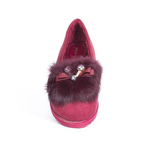 Ideal Shoes Moccassins Fourrés Effet Daim Lilea Bordeaux