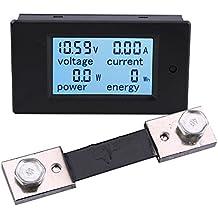 Yeeco Digital multímetro DC 6.5-100V 100A Voltímetro Amperímetro Amperaje Voltaje Poder Energía Metro Corriente Continua Voltio Amperio Corriente Vatio Metro Calibre Poder Monitor LCD Pantalla Digital con 100A / 75mV Derivador