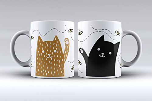 Pack 2 tazas ilustración gatos decorada desayuno regalo original pare