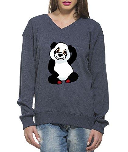 Clifton Women's Printed Sweat Shirt V-neck-navy Melange-Panda-6XL