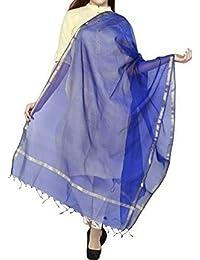 Amraoo Women's Chanderi Art Silk Plain Solid Golden Border Dupatta (Blue)