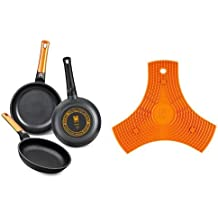 BRA Efficient Orange - Set de 3 sartenes + Safe - Salvamanteles de silicona multiusos imantado, 2 unidades, color naranja
