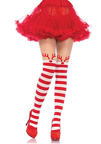 Leg Avenue 7945 - Rudolph Reindeer Strumpfhose Kostüm Damen Weihnachten, Einheitsgröße (EUR 36-40) (Leg Avenue Weihnachts Kostüm)