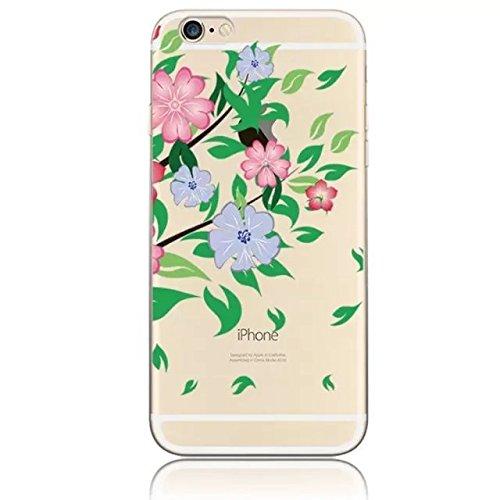 Sunroyal® TPU Gel Silicone Protettivo Skin Custodia Protettiva Shell Case Cover Per Apple iPhone 6 plus / 6S plus 5.5 pollici [Scratch-Resistant] Ultra-sottile Trasparente Chiaro Morbido Flessibile Co Fiore14