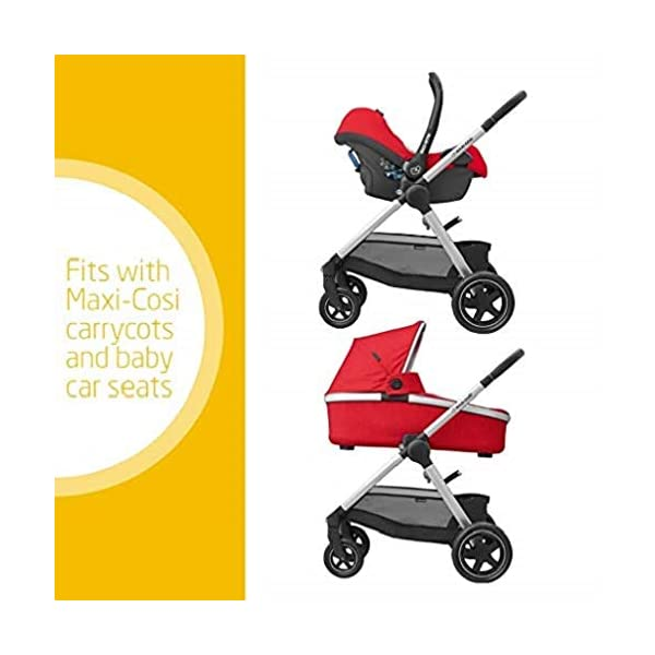 Maxi-Cosi Adorra Comfortable Urban Pushchair from Birth, Full Reclining Seat, 0 Months - 3.5 Years, 0 - 15 kg with Rock Baby Car Seat Group 0+,ISOFIX, i-Size Car Seat, Rearward-Facing, 0-12 m, Nomad Red, 0-13 kg Maxi-Cosi Cocooning seat - the luxury of a large padded seat for baby Lightweight - a light stroller less than 12kg that makes walking effortless Excellent safety rating: complies with the latest i-size (r129) car seat legislation 4