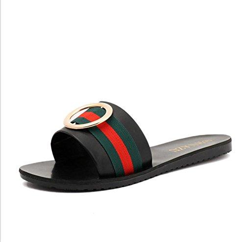 pengweiDamen Hausschuhe Sommer Runde Schnalle mit l?ssigen Wort ziehen die Frauen Schuhe Black