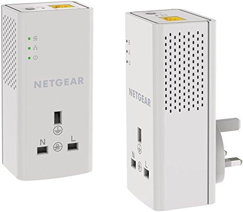 Netgear-PLP1000-100UKS, 1Port, 1Gigabit Port Powerline-Adapter mit extra Outlet-2Stück 1 GB - Netgear-gigabit-powerline